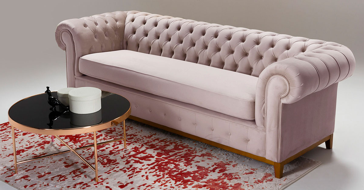 Sofas and armchairs in dusty pink colour