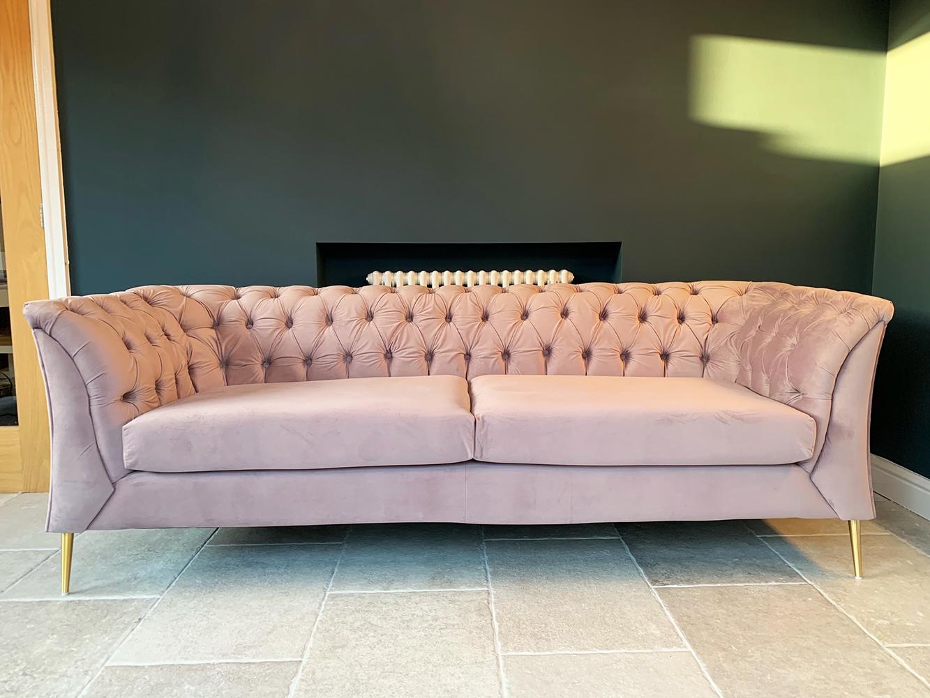 Lilac sofa Chesterfield Modern, velour material, gold legs