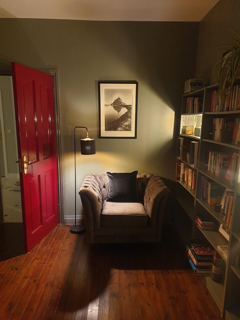 Grey Karin armchair in retro style room