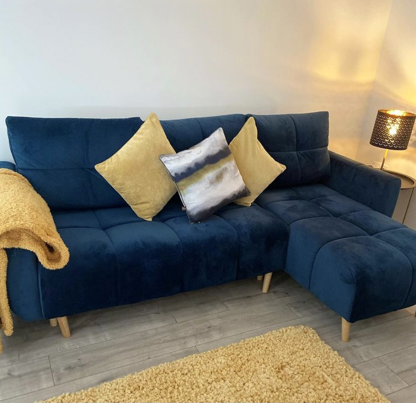 Navy blue Globe sofa and navy blue Slender armchair from @theellesmerehome
