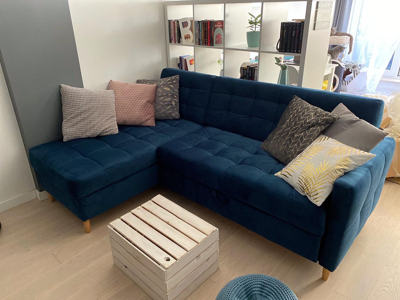 Velocity Blue Pull-out Corner Sofa