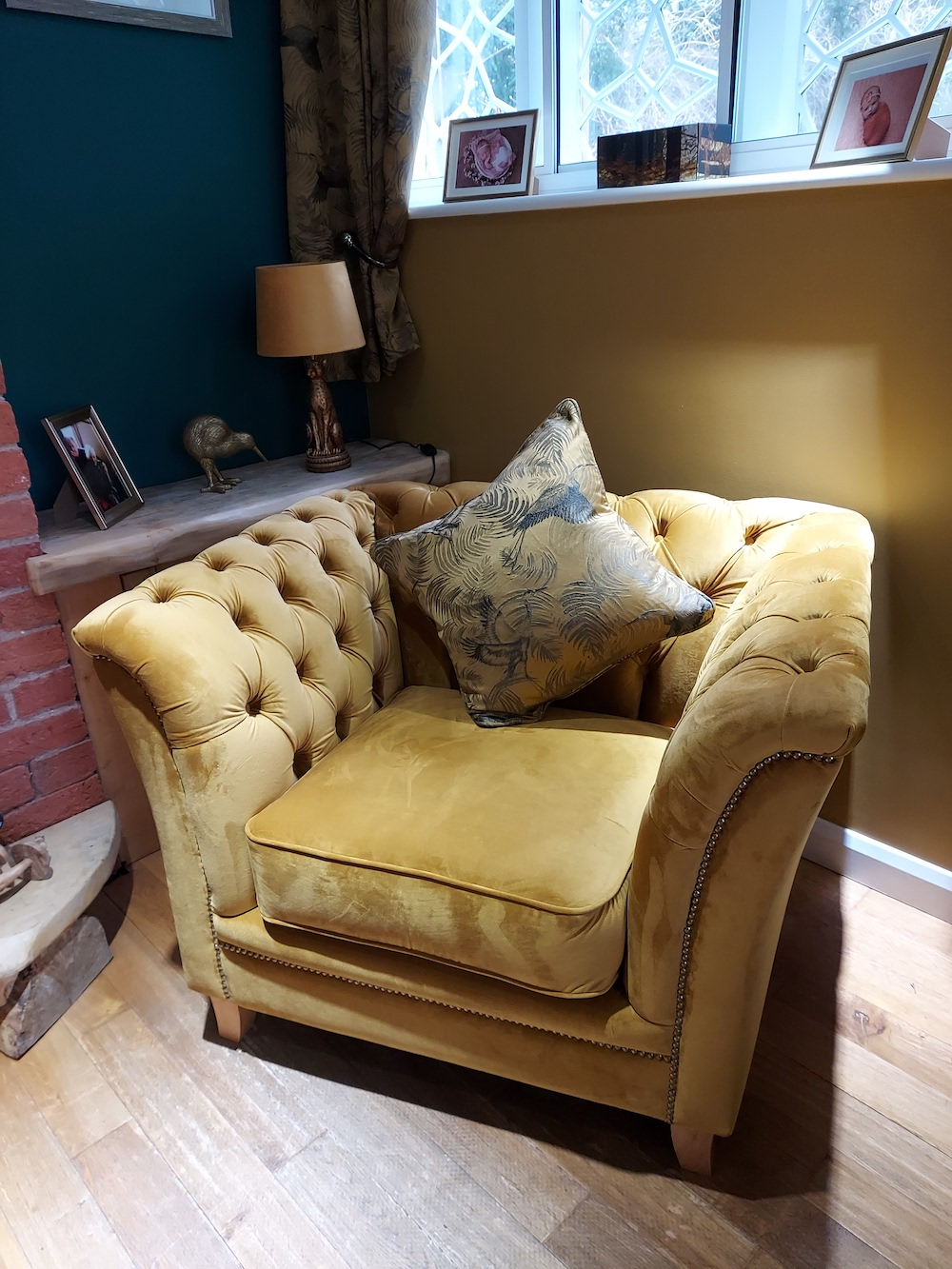 Yellow quilted retro Karin armchair