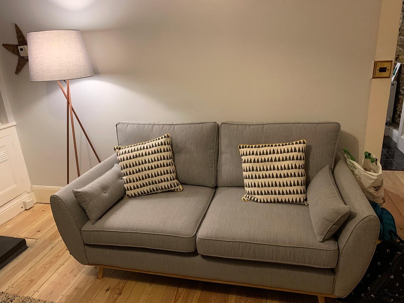 Grey three-person sofa Zinola