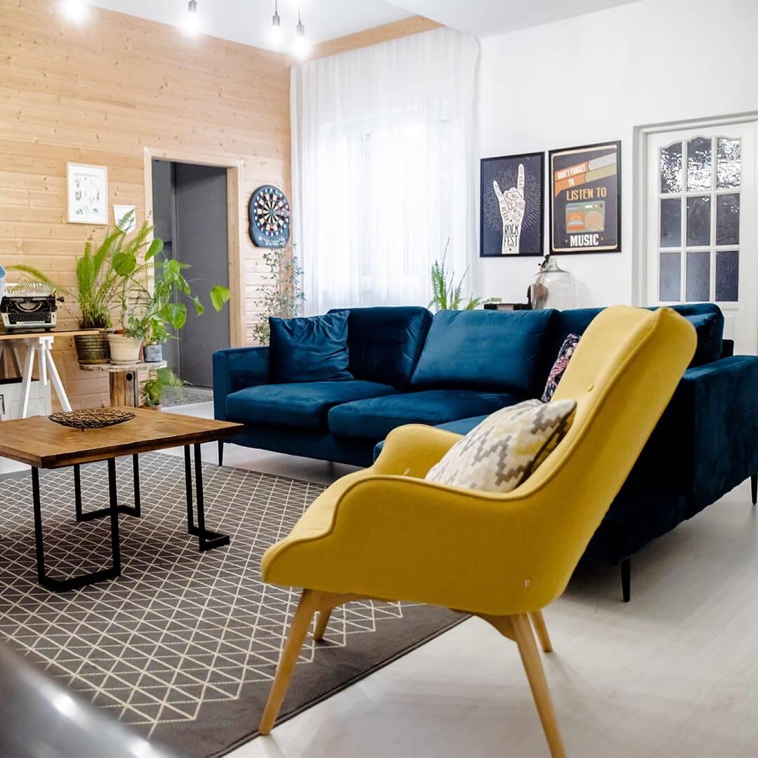 Yellow Chair Ducon and Dark Blue Corner Sofa Covex