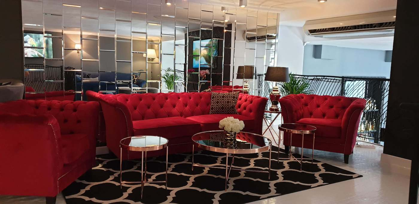 Red Velvet Sofa & Chairs in Chesterfield Style